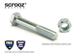M6 x 65mm Hex Bolt & Nut BZP Grab Pack of 10