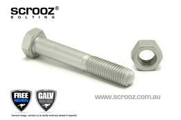 M20 x 200mm Hex Bolt & Nut GAL Grab Pack of 1