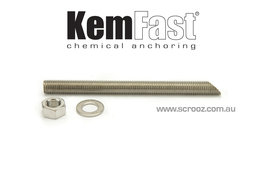 Kemfast chemical anchor stud 16 x 190mm 316 box 10