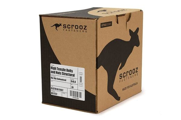 M20 x 130mm Structural Bolts GAL Trade Box of 20