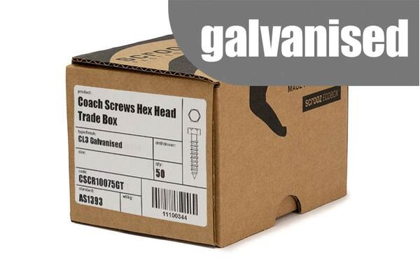 M6 x 65mm Coach Screws Galvanised Trade box 100
