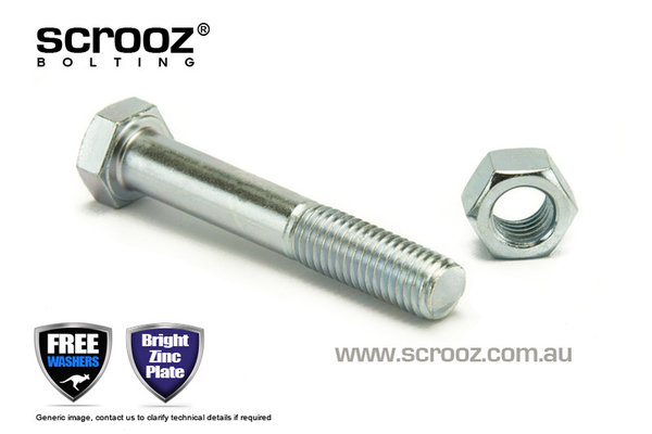 M10 x 90mm Hex Bolt & Nut BZP Grab Pack of 5