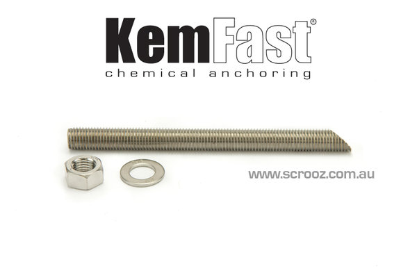 Kemfast chemical anchor stud 10 x 130mm 316 box 10