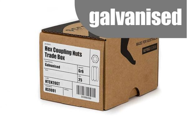 M20 Hex Coupling Nuts Grade 6 Galvanised box 25