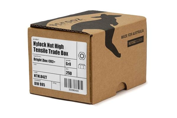 M8 nylock nuts grade 8 zinc plated box 250