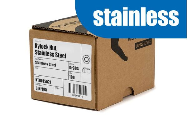 M6 nylock nuts stainless steel grade 304 box 500