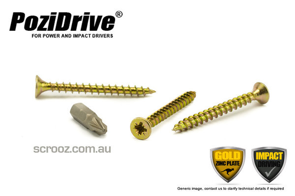 8g x 60mm PoziDrive Gold Zinc MP Screws pack 100