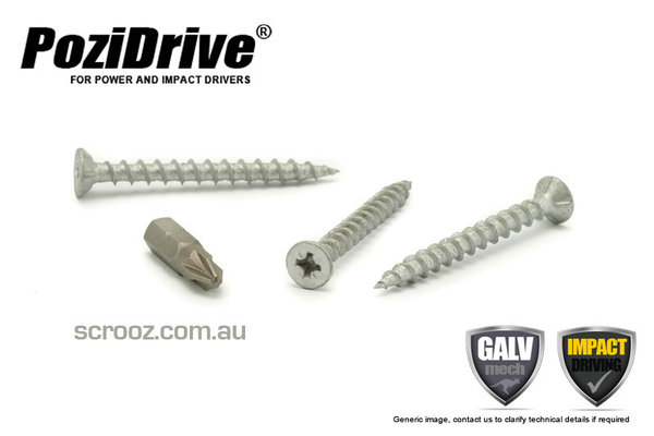 8g x 20mm PoziDrive Galvanised MP Screws pack 100