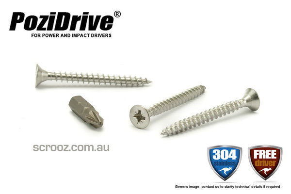 10g x 60mm PoziDrive Stainless MP Screws pack 100