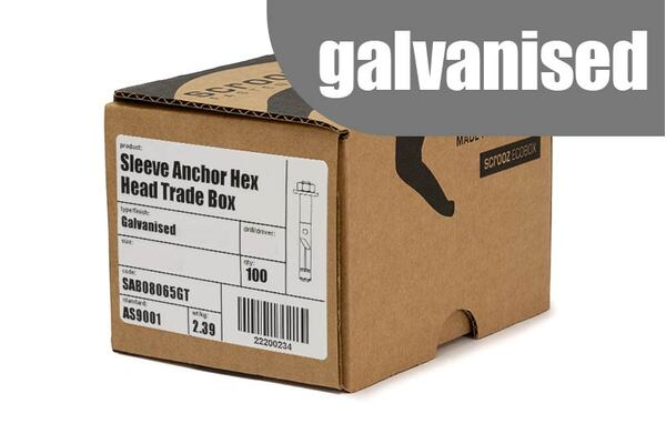 Sleeve Anchors 8 x 65mm GAL trade box of 100