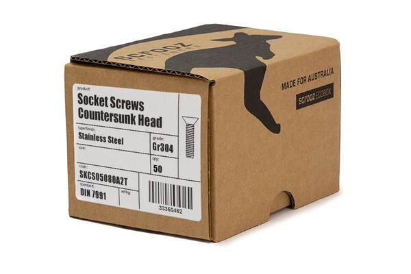 M12 X 50 SS 304 CSK Socket Screws Trade Box 50