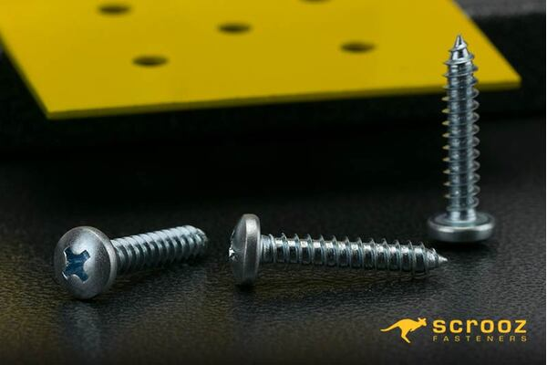 10g x 12mm Self Tapping Screws PAN BZP pack 100