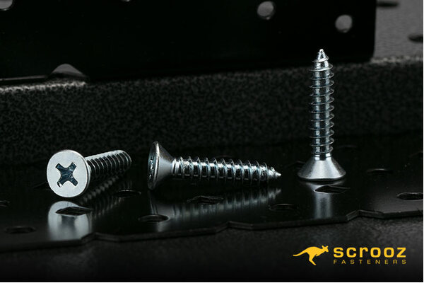 12g x 50mm Self Tapping Screws CSK BZP pack 100