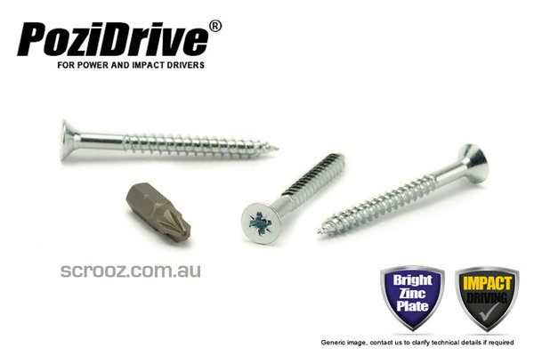 8g x 50mm PoziDrive twinthread Screws CSK pack 100