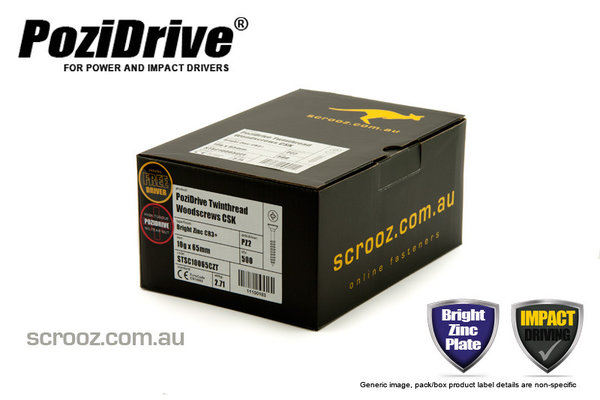10g x 65mm PoziDrive twinthread Screws CSK box 500