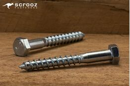6mm x 65mm Coach Screws Zinc Plated Grab pack 20