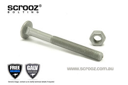 M10 x 200mm Carriage Bolts GAL Grab Pack of 5