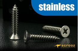 8g x 25mm 304 Stainless Self Tap CSK pack 100
