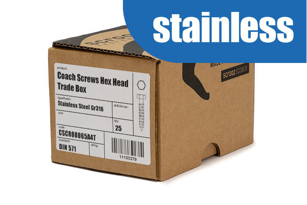 12mm x 40mm Coach Screws 316 Stainless box 25