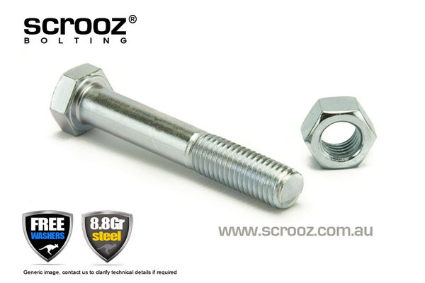 M12 x 90mm High Tensile Bolts BZP Grab Pack of 5