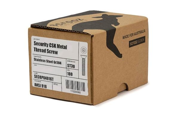 Security CSK metal thread ST30 M6 x 40mm box 100